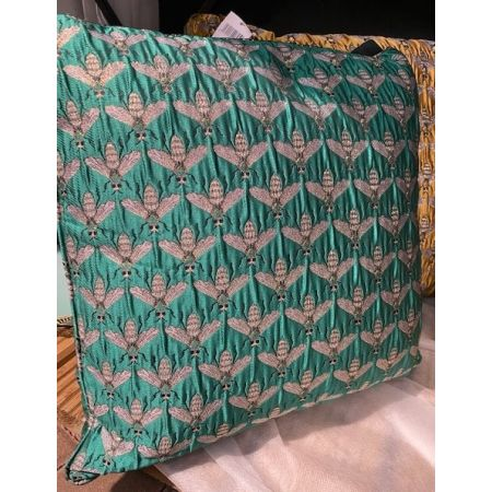 Green Bee Jacquard Filled Cushion